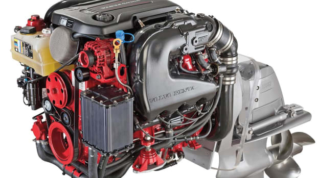 Volvo Penta's new V-8 models — 300- and 350-hp — and the V-6 280 use General Motors' fifth generation of engines. The 300 is pictured here.