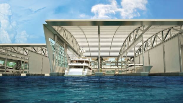 A rendering depicts the megayacht area of SeaVault, one of the projects that advocates say would breathe new life into the once-thriving Miami River waterfront.