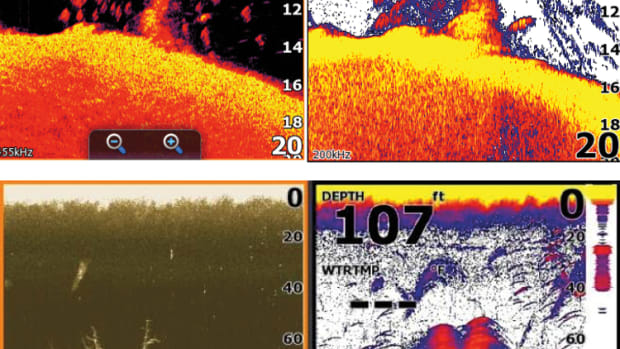 A Navico DownScan sonar image (left), compared with one from typical conical sonar.