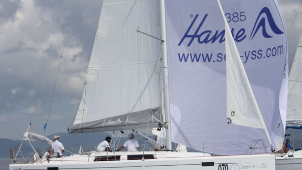 The Hanse 385 Iyarada won the small-boats group in the Phuket Kings Cup as the smallest boat in the group.