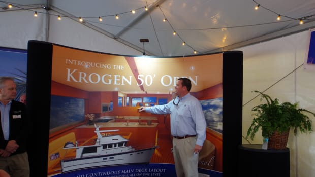 Kadey-Krogen Yachts vice president Tucker West talks about the new 50' Open on Thursday at Yachts Miami Beach.