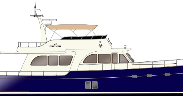 Vicem's new 65 Flybridge, shown in this rendering, will be presented at the Palm Beach International Boat Show in March. The first yacht is already sold.