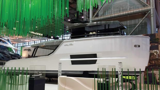 The first hull in Arcadia Yachts' elegantly styled and eco-friendly Sherpa series made its debut at boot Düsseldorf. The Naples, Italy-based builder says the 16.8-meter hull is designed for fuel efficiency. So-lar panels generate power for running the yacht's systems.