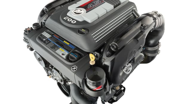 The MerCruiser 4.5L 200-hp engine is one of two in-housebuilt, next-generation gasoline sterndrives that Mercury introduced in 2015.