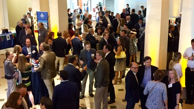Participants mingle on Monday at the welcome reception for the American Boating Congress.