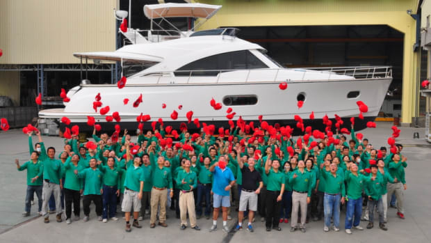 Riviera Yachts, which recently added 30 employees, celebrates the launch of the daybridge model of the Belize 54.