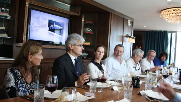 Benetti Yachts CEO Vincenzo Poerio addresses media members at a Thursday luncheon in Miami.