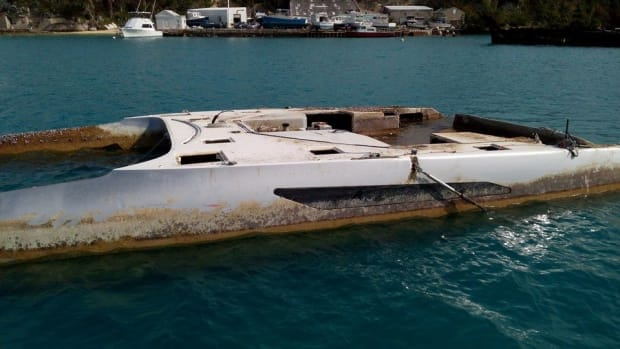 The Gunboat 55 Rainmaker was hauled back to shore after more than a year adrift in the Atlantic.