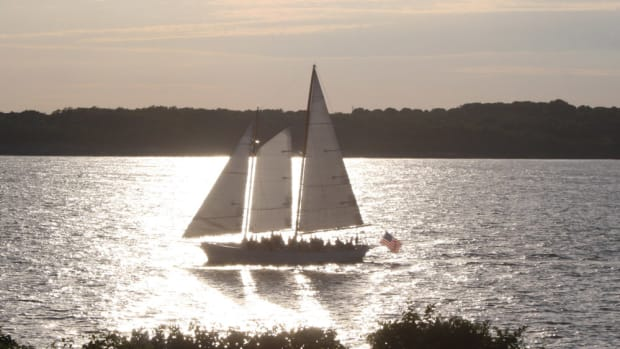 A passing sailboat reveals the beauty of the Newport shoreline.