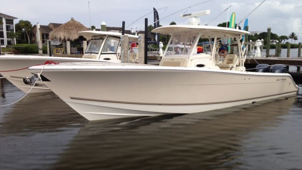 The Cobia 344 CC is the new flagship for this brand of family fishing open boats from the Maverick Boat Co. It can be powered with triple 300-hp or twin 350-hp Yamaha outboards.