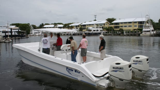 A Twin Vee with twin Suzuki DF200As was one of the boats equipped with Suzuki engines that were available for testing and demos during the Florida event.