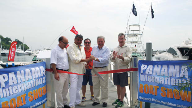 "(From left) Ricardo Strul, Miguel Pineiro, Dane Graziano, Efrem ""Skip"" Zimbalist III and Andrew Doole cut the ceremonial ribbon at the inaugural Panama International Boat Show."