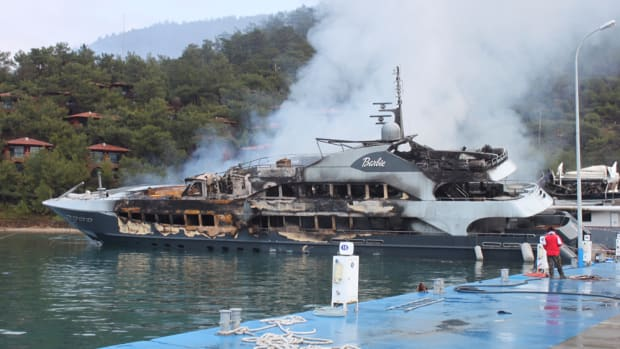 The owner of Barbie, one of two superyachts destroyed in a fire in Turkey, received a $20 million insurance payment. Credit: YachtHarbour.com