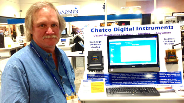 Chetco Digital Instruments chief technology officer Joe Burke coordinated the Connected Boat display at IBEX.