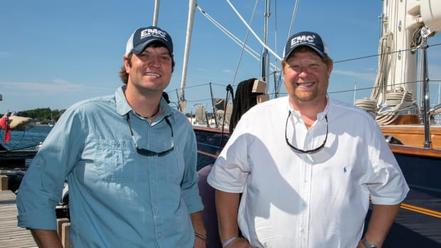 Friends and business partners Brad Martin (left) and Jon Boswell launched Engineered Marine Coatings to become players in the marine coatings market.