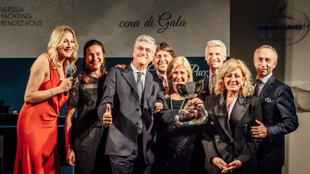 Paolo Vitelli (third from left) received the first Carlo Riva Award during the Versilia Yachting Rendezvous in Italy.