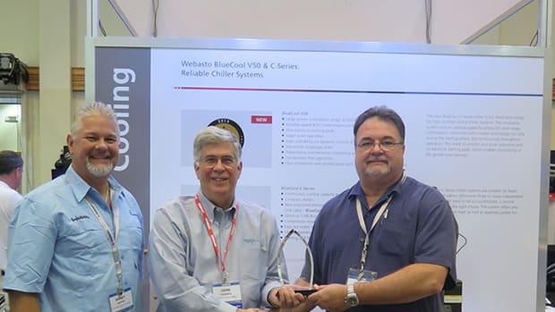 (From left) Webasto aftermarket sales manager Randy Carter, Ocean Marketing president John Thommen and Webasto marine division director David Wollard.