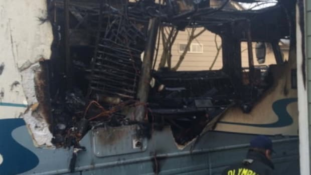 A class-action lawsuit against Dometic alleging that the company sold faulty refrigerators included this picture and said the damage to this RV was due to a flawed unit.
