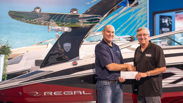 Barry Slade (left) of Regal Boats is shown with Larry Meddock, chairman of the Water Sports Industry Association.