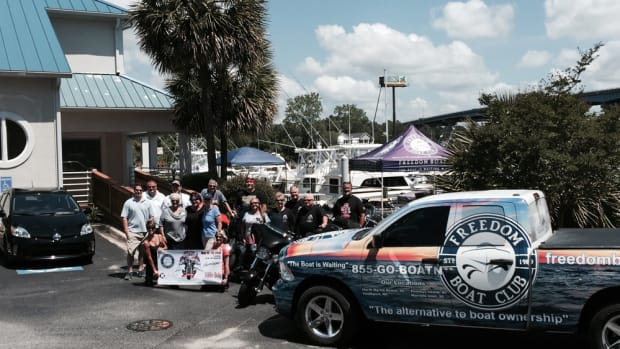 "The tour riders visited the ""Grand Strand"" Freedom Boat Club franchise Monday in North Myrtle Beach, S.C."