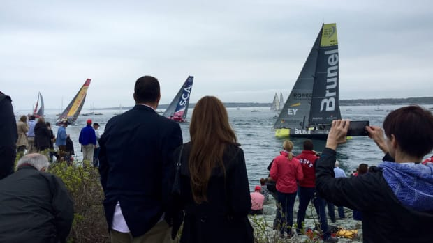 Spectators gather Saturday at Castle Hill in Newport, R.I., to watch the Volvo Ocean In-Port Race.