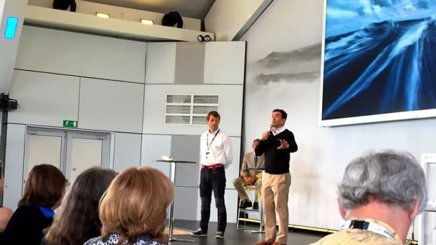Rhode Island native and Team Alvimedica skipper Charlie Enright (right) and Volvo Ocean Race CEO Knut Frostad spoke Friday about the growing problem of garbage in the ocean in Newport, R.I.