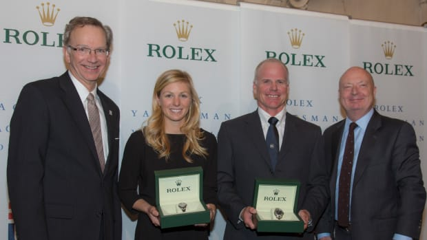 Stephanie Roble and Terry Hutchinson (second from right) were honored as the US Sailing Rolex Yachtsman and Yachtswoman of the Year at an award ceremony Thursday in New York. At left is Tom Hubbell, president of US Sailing, and at right is Stewart Wicht, president and chief executive of Rolex Watch U.S.A. (CREDIT: Rolex/Daniel Forster)