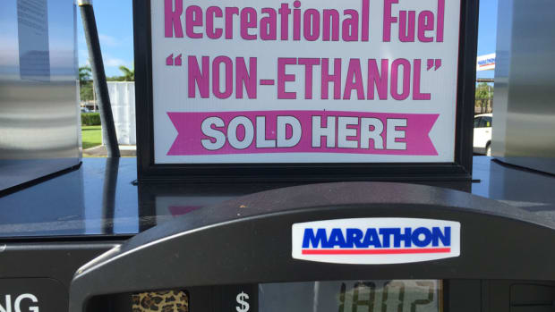 Few gasoline stations sell non-ethanol fuel. This one is in Florida.