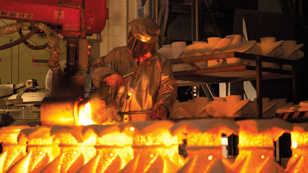 Propellers are forged at Mercury Marine's molten metal plant.