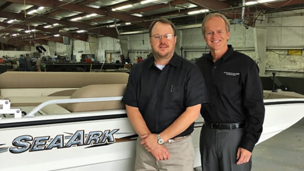 Correct Craft president and CEO Bill Yeargin (right) named Steve Henderson president of the aluminum fishing boat builder SeaArk Boats.