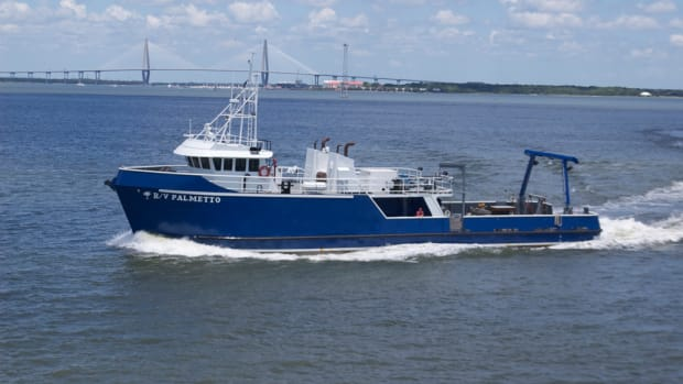 R/V Palmetto, a fisheries research vessel operated by the South Carolina Department of Natural Resources, received a pair of new Volvo Penta engines during an overhaul. Photo by Ryan Collins.