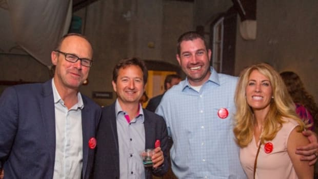 Grand Large Yachts principals Benoit Lebizay, (left), and Xavier Desmarest; David McCollough, of McCollough Yacht Design; and Kylie McCollough are shown at the event last Saturday at the New York Yacht Club.