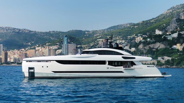 Columbus Yachts — part of the Palumbo Group —launched two new superyachts, in-cluding this 131-foot Sport Hybrid, Divine.