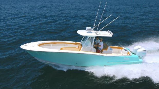 The Marine Group, a new dealer for Mag Bay Yachts, sold one of these 33-foot center consoles the day after it arrived.