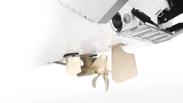 The Dockstar Handling System has a pair of low-profile, flanking rudders that enable port-side reverse control.