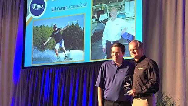 Bill Yeargin (right), was named the 2016 Boating Industry Mover and Shaker of the Year at IBEX on Tuesday. He is shown with Boating Industry editor-in-chief Jonathan Sweet.