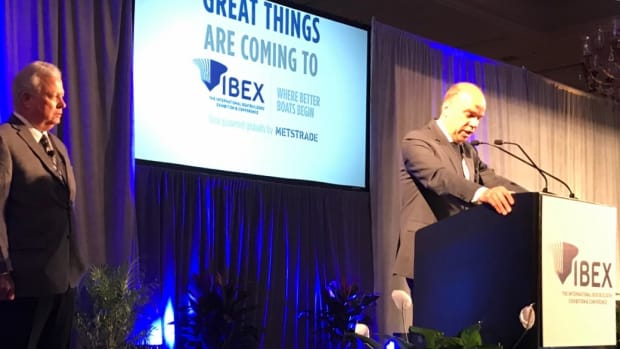 RAI Exhibitions executive vice president Ids Boersma is shown speaking at IBEX in Tampa this morning. At left is National Marine Manufacturers Association president Thom Dammrich.