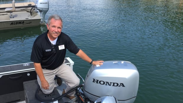 Honda senior OEM sales manager Dennis Ashley was on hand at the Honda media event to explain the benefits of all Honda engines from 4 to 250 hp.