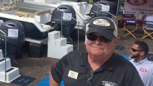 Sea Hunt sales manager Johnny Craig spoke about the company's success at the Progressive Norwalk Boat Show.