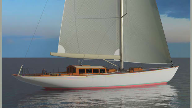 This is a rendering of a 65-foot sailing yacht that Lyman-Morse is building in Maine.