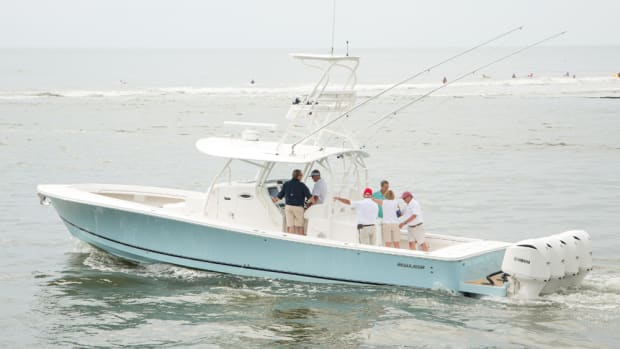 Regulator dealers got their first opportunity to see the builder's new flagship 41 center console.