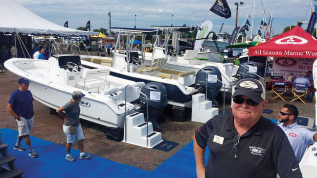 Sea Hunt sales manager Johnny Craig was at the Norwalk International Boat Show to show the company's offerings in the saltwater market.