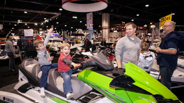 The Atlanta show traditionally offers a variety of boats, such as this Wave Runner from Yamaha.