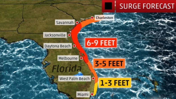 The Weather Channel predicted that the storm surge from Hurricane Matthew will be as high as nine feet from Melbourne, Fla., to Savannah, Ga.