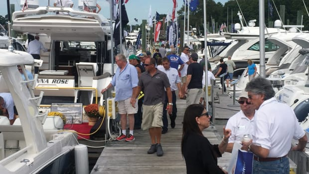 Formula boats are shown on display at the Norwalk show. Good early-fall weather attracted a sizable number of buyers. The NMMA said attendance was up 6 percent.