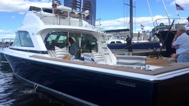 The new Bertram 35 made its world debut Thursday at the Newport International Boat Show.