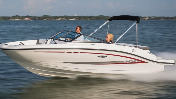 Brunswick saw higher third-quarter sales volume in boats with lower average selling prices — such as this 19-foot Sea Ray SPX outboard — than some of the larger fiberglass sterndrive products.
