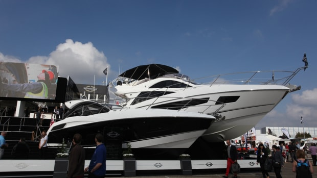Sunseeker created a Great edition of the San Remo, dressed with Union Jack wrap, to display at a VIP section of the Southampton Boat Show, which will showcase Britain's highest-end products.