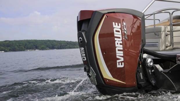 An Evinrude E-TEC G2 engine is shown on a Bennington pontoon boat.