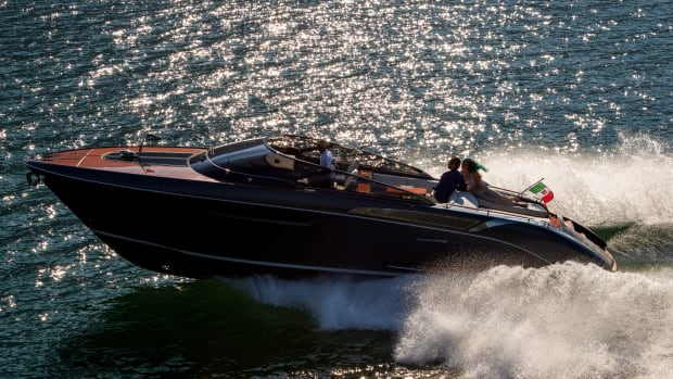 Riva gave members of the press a glimpse of the new Rivamare during an event at its Italian shipyard.